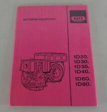 Operating Instructions Hatz Diesel Engine 1D20 1D30 1D35 1D40 1D60 from 1992