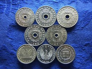 GREECE 5 LEPTA 1971, 10 LEPTA 1954, 1966, 1969, 1971, 1973, 1973, 1976(8)