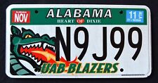 "ALABAMA "" UAB BLAZERS - DRAGON - DIXIE"" AL UNIVERSITY Specialty License Plate"
