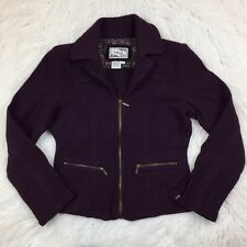 TRIA Plum Purple Wool Fitted Zip Front Sophisticated Jacket Womens S