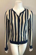 Vera Wang Lavender Label Blue Beige Metallic Striped Cardigan Sweater Size S