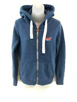 SUPERDRY Womens Hoodie Jacket S Small Blue Cotton & Polyester