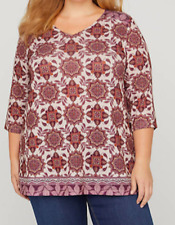 NEW Catherine's Plus Size 4X Burgundy Impression Swing Top Blouse Shirt