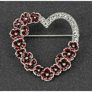 Equilibrium Silver Plated Poppy Diamante Heart  Jewellery 299463
