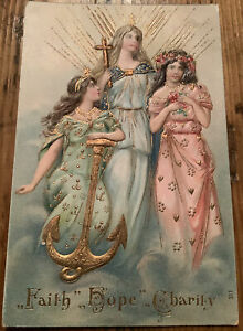 Faith Hope Charity Antique Postcard Angels anchor Vintage 3 Virtues Otto Schlos
