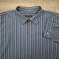 Synrgy Men's Casual Shirt Size 4XLT Long Sleeve Blue White Stripe