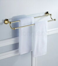 Polished Golden Wall Mounted Bathroom Double Towel Bar Towel Rail Towel Holder