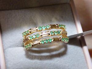 Superb Emerald Cuff Ring  Size P
