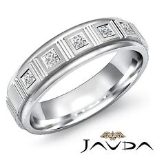 5 Piedra Brillante Princesa Engaste Diamante Hombre Medio Alianza Platino 0.25Ct