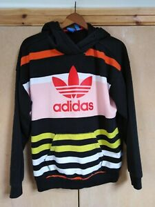 ADIDAS - LADIES MUTICOLOUR STRIPED TREFOIL LOGO HOODIE - SIZE UK 12