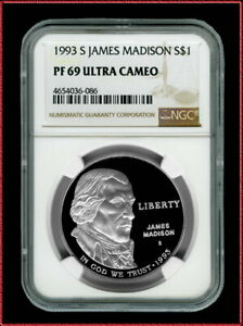 1993 S James Madison Commemorative Coin (NGC PF 69 CLAD Ultra Cameo)