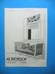 PUBLICITE DE PRESSE AU BUCHERON GRAND MAGASIN DU MEUBLE PAR RENé VINCENT 1926