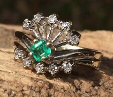 14k WG Art Deco Natural Emerald & Diamond Engagement Ring AVP $995 #1502