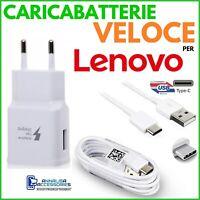 CARICABATTERIE VELOCE FAST CHARGER per LENOVO Z6 PRO PRESA USB + CAVO TIPO C