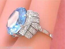 ESTATE ART DECO 1ctw DIAMOND PLATINUM 15mm BLUE STONE RING or RING MOUNTING