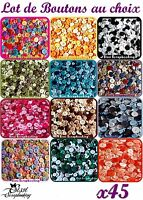 LOT 45 BOUTONS MULTICOLORE COULEUR AU CHOIX SCRAPBOOKING COUTURE SCRAP CARTE