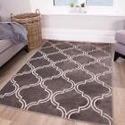 Grey Trellis Garden Rug Moroccan Indoor Outdoor Easy Clean Flatweave Patio Mat