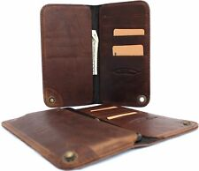 genuine real leather Case for iphone x book wallet cover cards slots brown thin