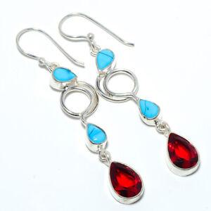 """Garnet & Turquoise Gemstone 925 Sterling Silver Earring Jewelry 2.54"""" F2529"""