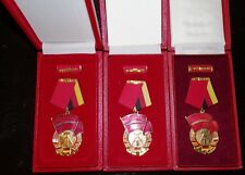 East German, NVA, ORDER OF THE RED BANNER OF LABOR, CLASSES 1-3 CASED, MINT