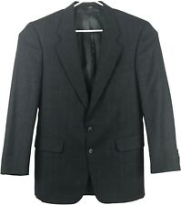 Jos A Bank Mens Wool Suit 40L Dark Gray w/ Blue Window Pane 2 Button Vented