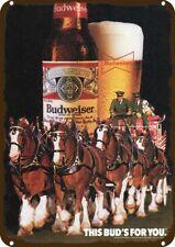 1985 BUDWEISER BEER Vintage Look Replica Metal Sign CLYDESDALE HORSE & DALMATIAN