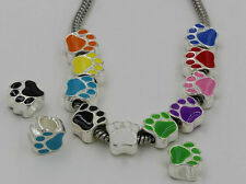 5 Pcs Silver Plated  mixed Enamel Paw Print Big Hole Loose Beads  Fit Bracelets