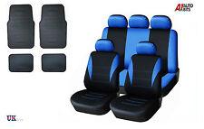 BLUE CAR SEAT COVERS & RUBBER CAR MATS SET FOR TOYOTA AVENSIS AURIS COROLA