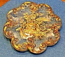 """Antique Button   LACY GLASS SCALLOPED FLORAL GOLD LUSTER TRIM , 1 1/4"""""""