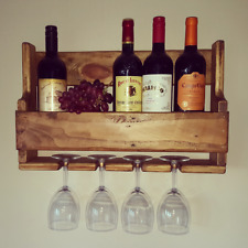 reclaimed pallet wood wine rack and glass holder bespoke occasion gift idea