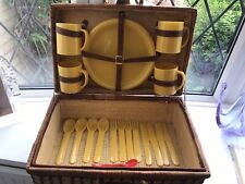 4 Person Wicker Picnic Basket, Yellow check interior, mugs, plates cutlery USED