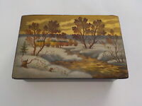 Vintage small lacquered box winter village and brook scene