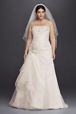 David's Bridal Plus Size 20W Ivory Organza and Lace Wedding Dress Model #9WG3807