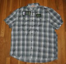 NWT Mens FIELD & STREAM Ironstone Plaid S/S Button Plaid Dress Shirt XL $60