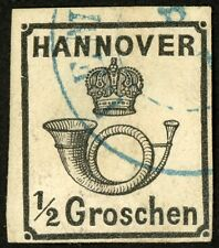 1860 Hanover, Germany Stamp #18, 1/2g black, Used H