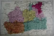 SURREY ANTIQUE MAP WITH HAND COLOUR WASH BY GEORGE BACON  c1881
