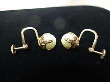 Vintage estate 10K yellow gold setting genuine pearl screw back earring set