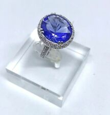 Fashion Jewelry Ring Blue Tanzanite Glass with CZ Crystals Size 6.5 in.