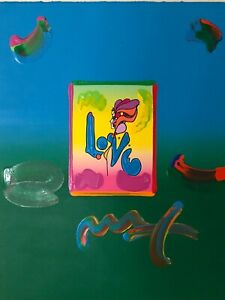 "Peter Max, ""LOVE"" Mixed Media Signed Painting"