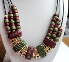 collier bijou vintage hippie couleur or cuir noir perles tube vert bordeaux 5020