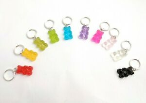 Set of 10 gummy bears stitch markers rainbow colours handmade