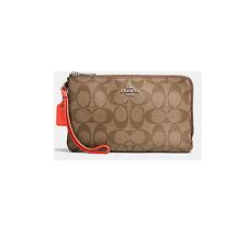 Coach Signature PVC Double Zip Canvas Wristlet Wallet iphone Case F16109 Khaki