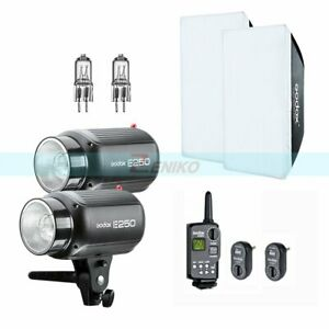 Godox 500W(2x250W) Studio Strobe Flash Light + Trigger Softbox Modeling Lamp Kit