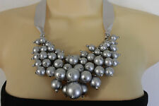Women Fashion Jewelry Grey Fabric Strand Necklace Imitation Pearl Beads Silver