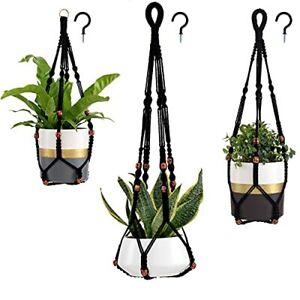 3-Pack Macrame Plant Hanger with 3 Hooks Indoor Outdoor Hanging Medium Black