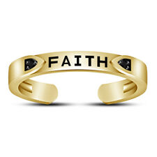 """Diamond """"Faith"""" Letter Toe Ring 925 Silver 14K Yellow Gold Over Womens Round Cut"""