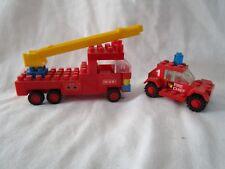 Lego? Plastic Block  Ladder Truck & Fire Chief Car