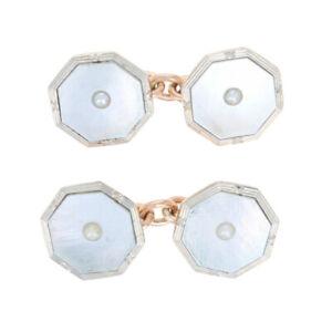 Mother of Pearl & Pearl Vintage Octagon Cufflinks - 9k Rose Gold Men's Gift