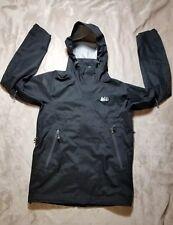 Mens REI E1 Elements Hooded Full Zip Rain Jacket Size S Outdoors Black