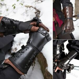 Medieval Armor Motorcycle Gloves Cuff Bracers Steampunk Gauntlet Leather Lace-Up
